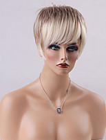 Hot Cool Straight Short Capless Wigs Human Hair  Mixed Color 10 Inchs