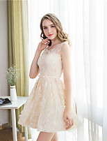Short / Mini Lace Bridesmaid Dress - Elegant A-line Jewel with Bow(s) / Sash / Ribbon