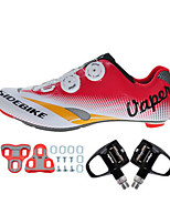 Cycling Shoes Unisex Outdoor / Road Bike 004 Sneakers Damping / Cushioning White / Red-sidebike And Black Lock Pedals