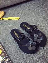 Damen-Slippers & Flip-Flops-Lässig-Gummi-Flacher Absatz-Komfort-Schwarz