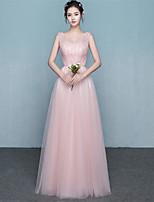 Floor-length Satin / Tulle Bridesmaid Dress - Elegant Ball Gown V-neck with Beading / Bow(s) / Sash / Ribbon