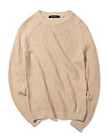 Мужской Однотонный Пуловер На каждый день / Большие размеры,Хлопок / Полиэстер,Длинный рукав,Черный / Серый