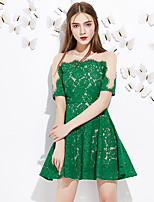 J&D Women's A Line Dress Round Neck Above Knee Short Sleeve Pink / Green Polyester Mid Rise Inelastic Medium