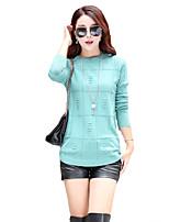 Для женщин На каждый день Простое Уличный стиль Обычный Пуловер Однотонный,Розовый Бежевый Серый Зеленый Круглый вырез Длинный рукав