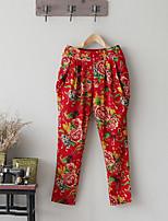 Ramie Cotton Women's Floral Red Harem PantsChinoiserie Summer