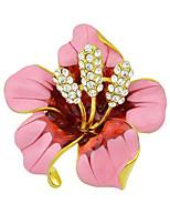 Fashion Beautiful Enamel Rhinestone Big Flower Brooches for Women
