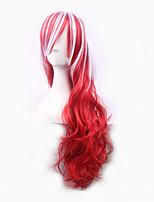 градиент локон прекрасный Harajuku многоцветной красный и белый провод высокая температура жаростойкий парик