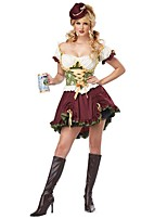 Cosplay Costumes Maid Costumes / Oktoberfest/Beer Movie Cosplay Green Solid Dress / Headpiece Halloween / Christmas / New Year Female