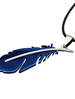 Fashion Jewelry Feather Pendant Necklace Leather Rope Chain Stainless Steel Necklace Men Women