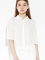 C+IMPRESS Women's Going out Simple Spring / Fall ShirtSolid Shirt Collar Length Sleeve White Silk Thin