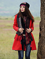Our Story Women's Going out Boho CoatPaisley V Neck Long Sleeve Winter Red Polyester / Spandex Thick