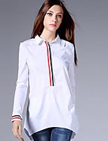AJIDUO® Damen Hemdkragen Lange Ärmel Shirt & Bluse Weiß-9113