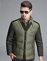 Men's Regular Down Coat,Cotton / Polyester Solid / Patchwork Long Sleeve
