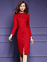 Women's Plus Size / Going out Simple Sheath DressSolid Stand Knee-length Long Sleeve Red / Black Cotton / Polyester Fall