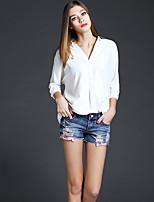 AJIDUO® Женский V-образный вырез Три четверти Рубашка и Блузка Кот / Оранжевый-A9260