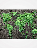 Stretched Green Leaves Map Picture Canvas Prints Modern Wall Art for Livingroom Decoration Ready to Hang