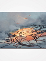 Stretched Terraced Fields Painting Pictures Printed on Canvas Landscape Canvas Prints for Wall Decor  Ready to Hang