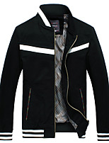 Men's Long Sleeve Casual / Work JacketCotton Striped / Solid Black / Blue / Yellow