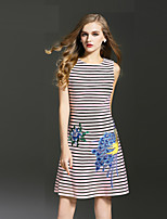 Boutique S Women's Plus Size DressStriped Round Neck Sleeveless  Mid Rise Micro-elastic