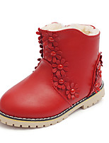 Girl's Boots Fall / Winter Fashion Boots Leatherette Dress / Casual Flat Heel Zipper Pink / Red Walking