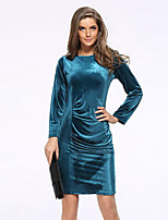 Women's Plus Size / Casual/Daily Street chic Sheath DressSolid Knee-length Long Sleeve Blue / Red / Black / Green