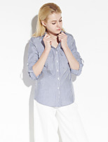 C+IMPRESS Women's Work Simple Spring / Fall ShirtStriped Shirt Collar Long Sleeve Blue Cotton Medium