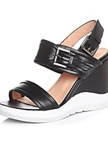 Women's Sandals Summer Nappa Leather Casual Wedge Heel Others Black Almond Others
