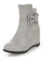 Damen-Stiefel-Kleid-Kunstleder-Keilabsatz-Schneestiefel-Schwarz Grau Mandelfarben