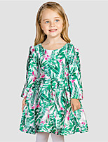 Girl's Casual/Daily Floral DressCotton / Polyester Winter / Fall Green