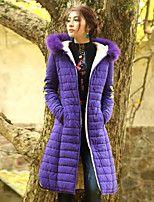 Our Story Women's Long Padded CoatBoho Going out Embroidered-Cotton / Polyester Cotton Long Sleeve Hooded Purple