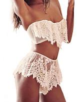 Feminino Lingerie com Renda / Conjunto Roupa de Noite,SexyFino Renda / Elastano Branco Mulheres