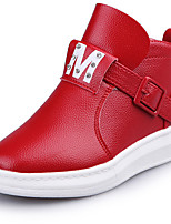 Girl's Boots / Fall / Winter Comfort Leather Outdoor / Walking / Casual Low Heel Buckle / Zipper Black / Red / Silver