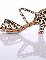 Women's Latin Silk Heels Practice Heel Leopard 1