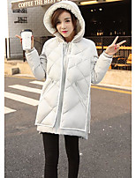 Daily Solid-Polyester White Duck Down Long Sleeve Hooded White / Beige / Black