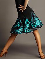 Latin Dance Tutus & Skirts Women's Performance Chinlon / Spandex Draped / Animal Print 1 Piece Green / Red