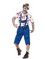 Costumes More Costumes Halloween / Oktoberfest White / Blue Patchwork Terylene Top / Pants / More Accessories
