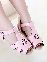 Girl's Sandals Summer PU Casual Flat Heel Others Black Pink White Others