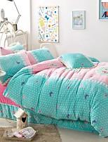 Thick Warm Flannel 4 Piece Quilt Kit Princess Pastoral Style Sheets  Bedding Set