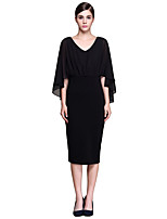 Women's Plus Size / Casual/Daily Vintage / Sophisticated Bodycon DressSolid V Neck Knee-length  Sleeve Lace Dress