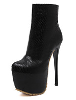 Women's Boots Side Zipper 6.3 Inch High Heel Round Toe Platform Ankle Bootie/Boots Black Size 8.5