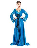 Costumes de Cosplay / Costume de Soirée Cosplay Fête / Célébration Déguisement Halloween Bleu Couleur Pleine Robe / Plus d'accessoires