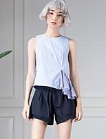 room404 Frauen einfache Sommer blousestriped Rundhals ärmellos blau Baumwolle Ausgehen undurchsichtig