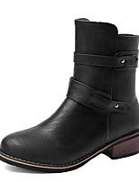 Women's Boots Winter Motorcycle Boots / Round Toe Dress Low Heel Zipper Black / Brown / Beige Others