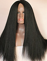 Natural Black Color 16-26 Inch Brazilian Virgin Hair Kinky Straight Lace Front Wig for Women
