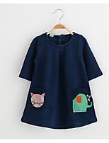 Mädchen Kleid-Lässig/Alltäglich Druck Baumwolle / Kunstseide Frühling / Herbst Blau