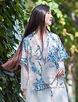 Женский На выход Лето Куртка V-образный вырез,Шинуазери (китайский стиль) Цветочный принт Розовый Рукав ½,Другое,Плотная