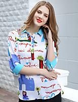 AJIDUO® Женский Рубашечный воротник Три четверти Рубашка и Блузка черный увядает / Золотистый-A9316