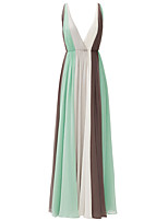 Formal Evening Dress A-line V-neck Floor-length Chiffon with Pleats
