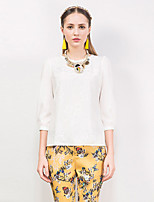 I'HAPPY Women's Going out Sophisticated Spring / Fall T-shirtSolid Round Neck  Sleeve White Polyester