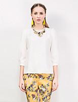 Tee-shirt Femme,Jacquard Sortie Sophistiqué Printemps / Automne Manches ¾ Col Arrondi Blanc Polyester / Spandex Moyen